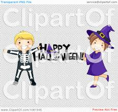 clipart skeleton and witch kids holding a happy halloween greeting
