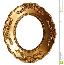 gold wood mirror frame with ornaments stock photography