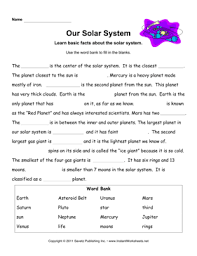 solar system facts worksheet students are to fill in the blanks