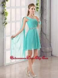 quince dama dresses one shoulder a line beading and ruching dama dress with lace up