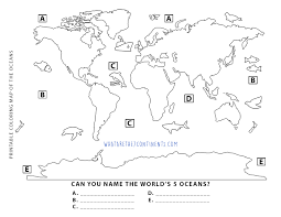 printable 5 oceans coloring kids 7 continents