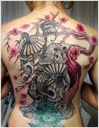 cherry blossom and geisha design of tattoosdesign of tattoos