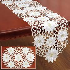 table runner white poinsettia table runner place mats current catalog