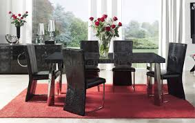Formal Dining Room Furniture Black Eco Leather Modern Formal Dining Room Table W Chrome Legs