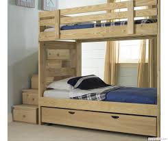 bedroom chic wood bunk beds with stairs and drawers before the