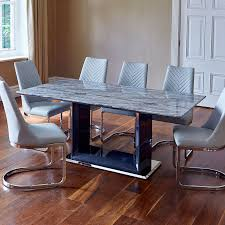 grey marble dining table pescara marble 180cm dining table and 6 camber grey dining chairs