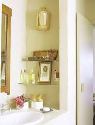 custom glass wall mounted makeup storage over vanity beside wall