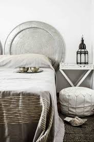 hammered round silver metal unusual headboards for beds
