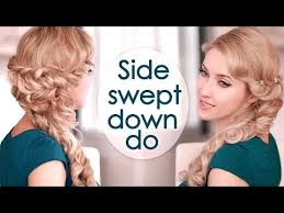 front view of side swept hairstyles half up half down hairstyle with curls prom wedding hair tutorial