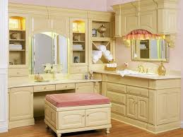 Vanity Table L Bathroom L Shape Stained Oak Wood Bathroom Vanity With Make