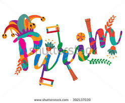 purim party supplies purim festive party backgroundgreeting card design stock vector