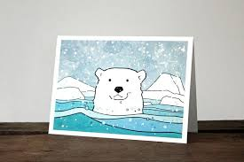polar card illustrated winter animal