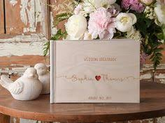 engravable guest book boho wooden wedding guest book with custom engraving wood