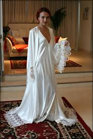 satin bridal robe wedding trousseau sleepwear venise lace art deco