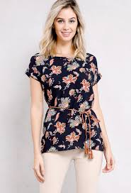 belted blouse ornate floral printed belted blouse shop blouse shirts at