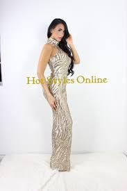 rihanna gold sequins turtle neck jumpsuit u2014 styles online
