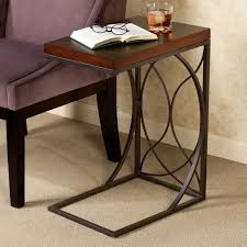 Bronze Accent Table Furniture Brown Stained Wood C Shape Accent Table With Tall C