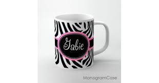 zebra animal print monogrammed tea mug design monogramcase
