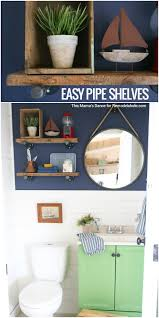 Pipe Shelves Kitchen by Remodelaholic Colorful Bathroom With Diy Reclaimed Wood And Pipe