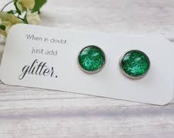 sparkly green earrings bright jewelry bright green stud earrings summer earrings