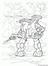 coloring page big war robot