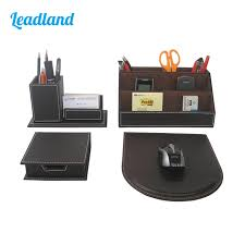 Desk Accessories Organizers Modern Style 4pcs Set Pu Leather Desk Decor Stationery Organizers