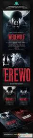 werewolf dark horror movie flyer poster template free download