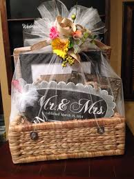 wedding gift basket filed with personalized gifts made with my