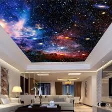 European Style Home Custom Photo Wallpaper Universe Star Sky Living Room Ceiling