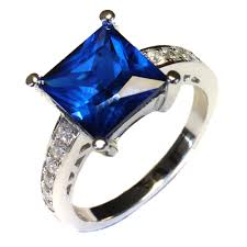 rings beautiful images Princess cut sapphire promise ring blue cubic zirconia jpg