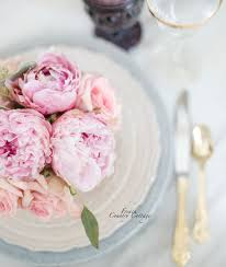 flower market friday french country cottage peonies and roses on lace plates with gold flatware