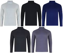 details about mens roll neck long sleeve cotton top polo neck