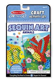 amazon com melissa u0026 doug on the go crafts animals sequin art