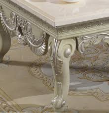 221 coffee table in antique style white w marble top u0026