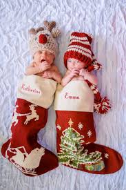 twin newborn christmas photo stockings from pottery barn