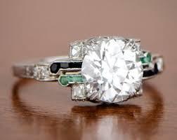 vintage onyx engagement ring etsy
