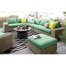 Crate And Barrel Outdoor Rug Newport 3 Loveseat Sectional With Sunbrella Bottle Green