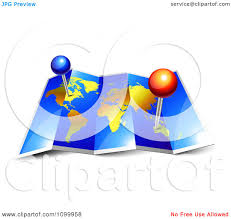 Map With Pins Clipart 3d Foldable Blue And Gold Atlas World Map With Pins
