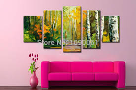 5 piece canvas wall art hand painted palette knife oil birch forest landscape oil paintings hand painted modern abstract 5