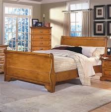 bedroom brown golden oak bed frame designed with headboard and