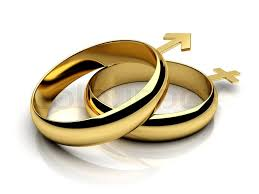 symbol of ring in wedding two wedding rings with symbols stock photo colourbox
