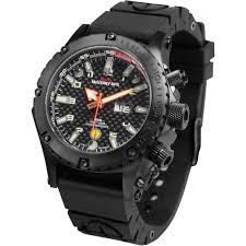 mtm special ops mens black vulture titanium watch with rubber