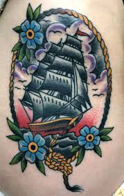 collection of 25 traditional flowers with ship tattoos on neck