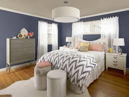 brown and light blue bedroom bedroom light blue wall curtain plants in pot dark orange sofa