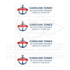 nautical baby shower return address labels with anchor and