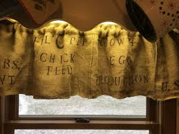 Feed Sack Curtains Primitive Curtains Chicken Feed Sack Valance Burlap Curtains