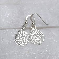 filigree earrings sterling silver teardrop filigree earrings by