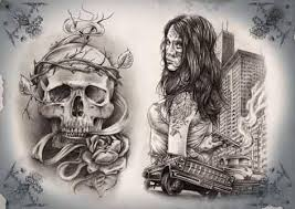 skull gangsta tattoo stencil golfian com