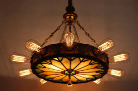 antique 1920 ceiling light fixtures 1920 s 14 light theatre chandelier w stained glass panel