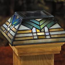 4x4 solar post lights solar post cap light 6x6 tiffany glass with solar deck post lights